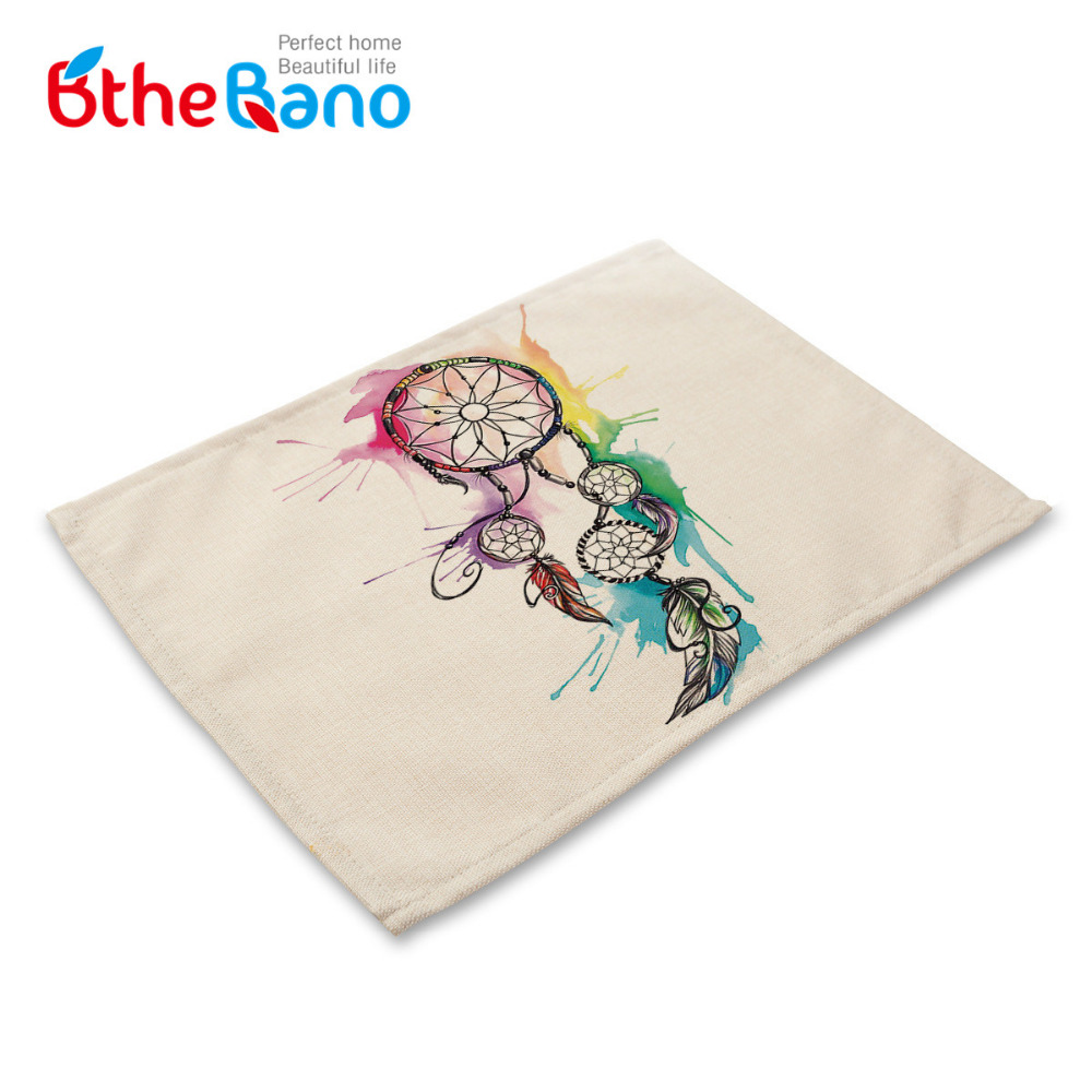 Vintag Dreamcatcher design Cotton Linen Dishware table mat For dining table desk Accessories Mesa Placemat free shipping 7design(China (Mainland))