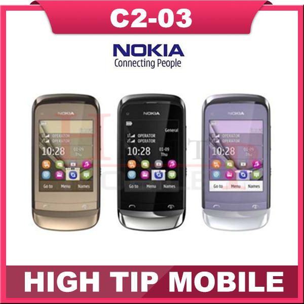 C2-03 Original Unlocked NOKIA C2-03 mobile phone Bluetooth MP3 Dual SIM Touchscreen Cheap Cell Phone refurbished 1 year warranty(China (Mainland))