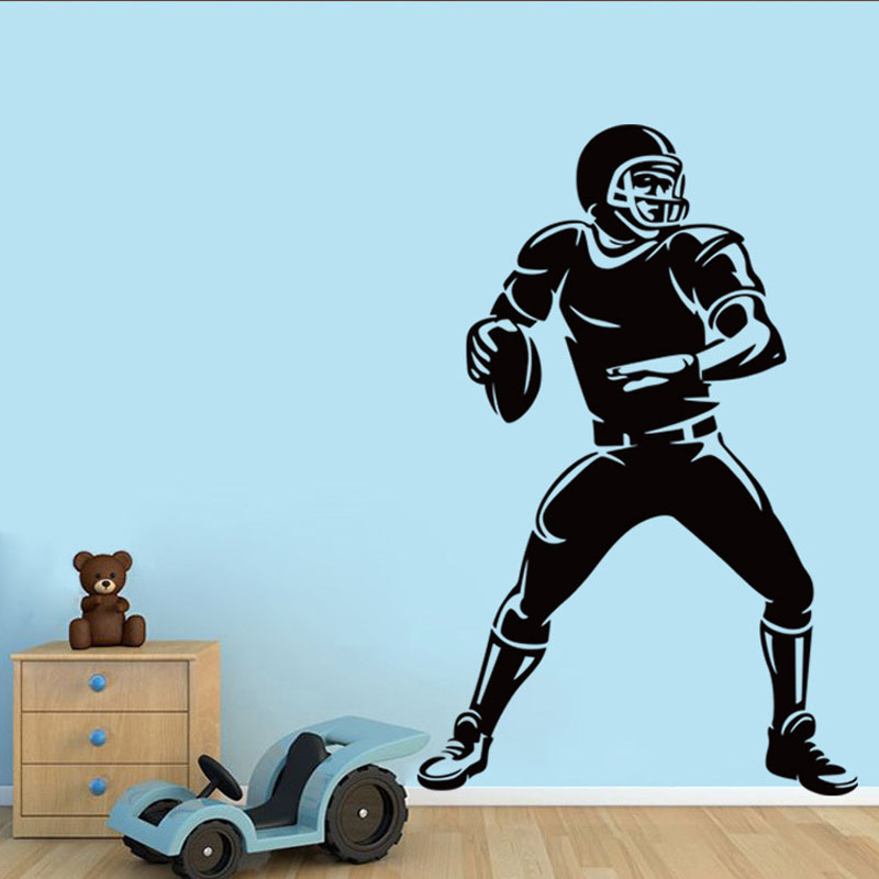 American football Rugby Boy wall stickers decals DIY Removable pegatinas de pared home decoration PVC wallpaper(China (Mainland))