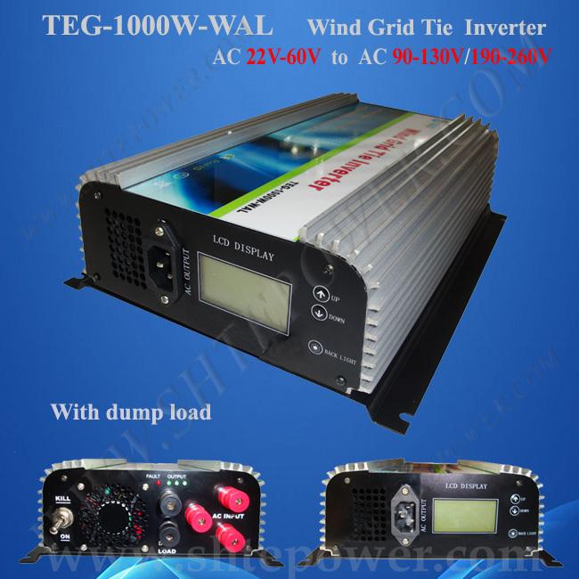 1KW Wind Turbine On Grid With Dump Load Resistor, 3 Phase Inverter AC 22V-60V Input Wind Grid Tie(China (Mainland))