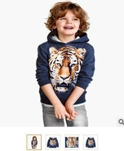 2014 explosion models selling children's long-sleeved sweater boys cartoon tiger head pattern long-sleeved sweater(China (Mainland))