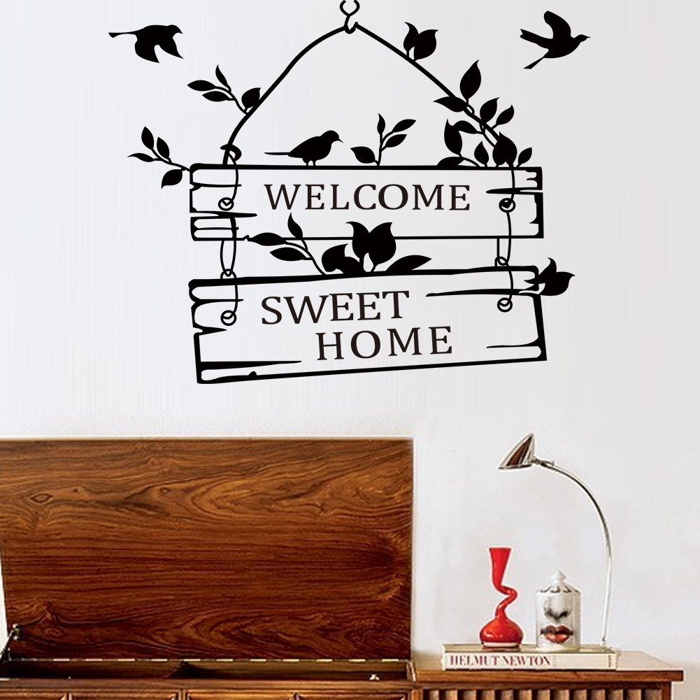 Hot New Removable Welcome Sweet Home Little Tree Sign Bedroom Living Room Decor Art Vinyl Wall Sticker(China (Mainland))