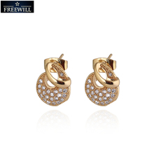 Fashion Whoesale price New Arrival Unique design stud earring for women Gold Plated Stud Earrings Hot Jewelry Gift(China (Mainland))