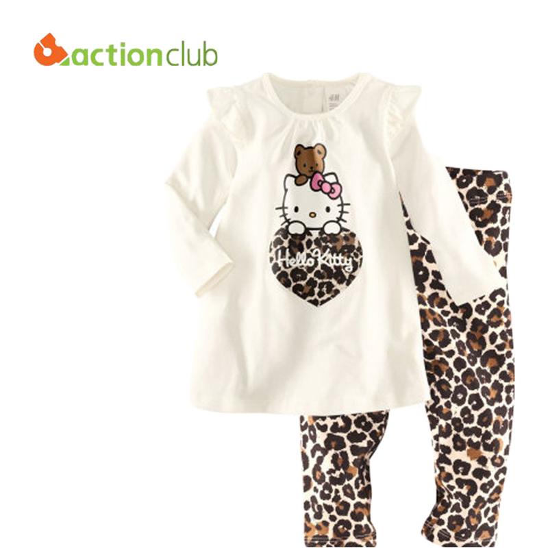 Children Autumn long Sleeve Clothing Set Hello Kitty Cartoon Pattern Pajamas high quality Kids Cotton Set For girls KS401(China (Mainland))