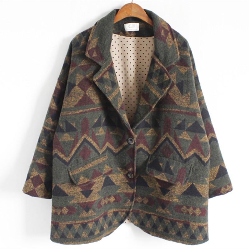 Здесь можно купить  Woman Clothes 2016 Spring Winter Cotton Padded Coat Preppy Style Geometric Pattern Outwear Long Sleeve Warm Wool Coat Pockets  Одежда и аксессуары