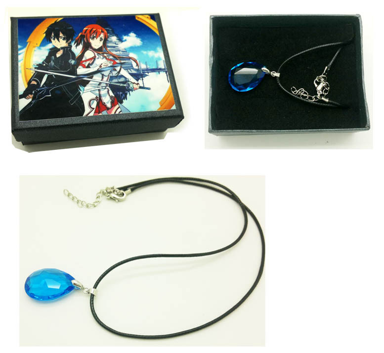 Cosplay Sword Art Online Asuna's Yui Crystal Necklace gift box - David's Jewelry Store store