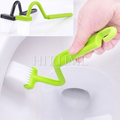 2pcs Portable Toilet Brush Scrubber V-type Cleaner Clean Brush Bent Bowl Handle #32743(China (Mainland))