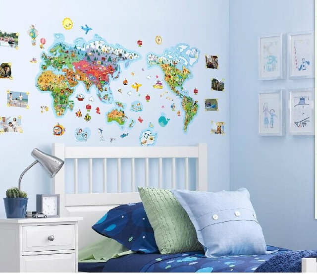 large cartoon world map wall stickers for kids room large fluorescent luminous vinyl wall stickers city of the
