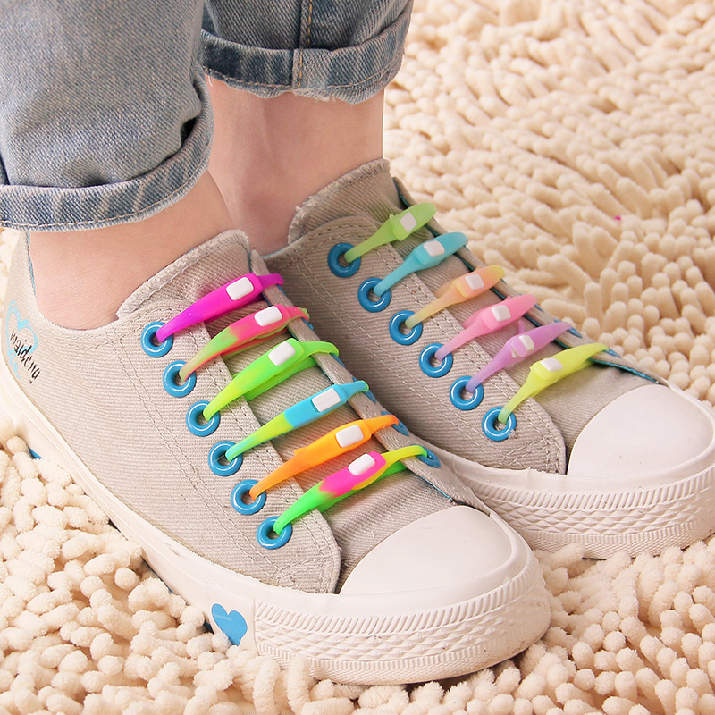 Blended-color 6 personalized neon shoelace silica gel colorful shoelace lounged canvas shoes all-match shoelace grow in the dark(China (Mainland))