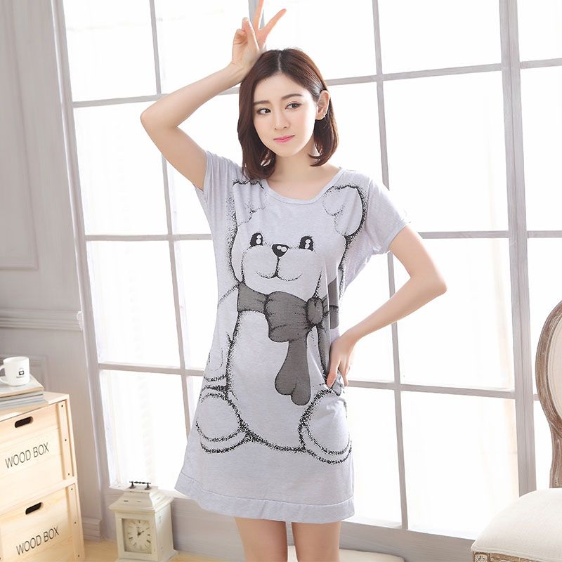 New summer lovely spring knitted cotton Nightgown Nightwear woman sleepwear night clothes lounge bear cartoon for home M-XXLОдежда и ак�е��уары<br><br><br>Aliexpress