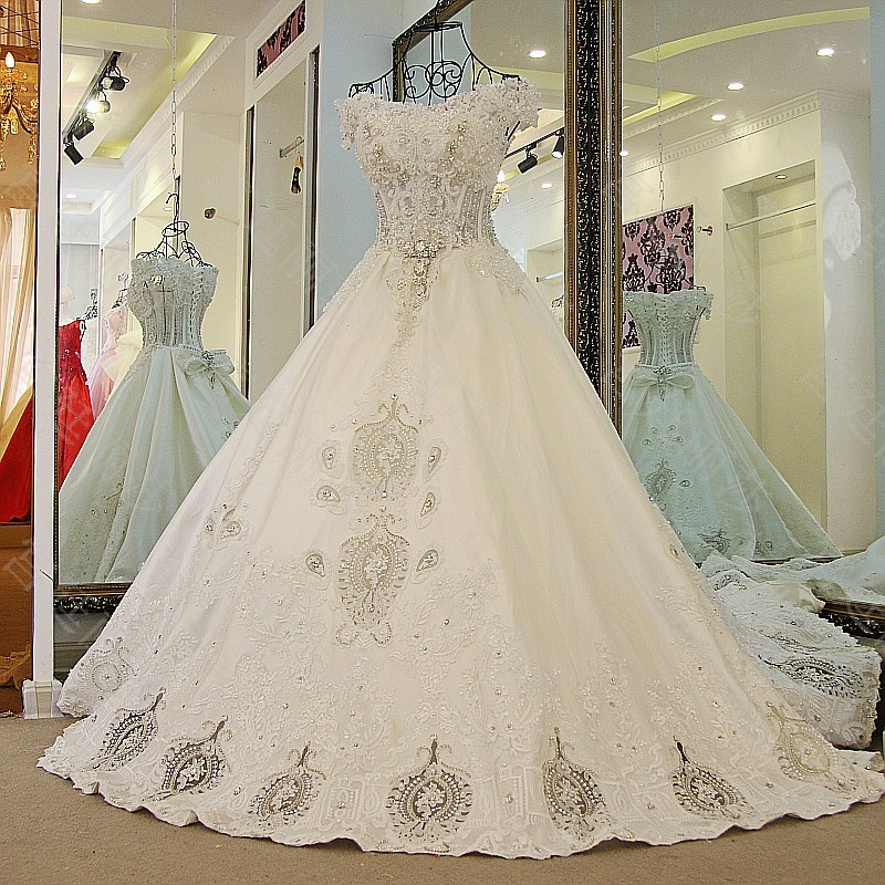 LS65471 100% Real Image Satin Wedding Dress Ball Gown Corset Back Appliqued Lace Beading Top Arabic Wedding Dress 2017(China (Mainland))
