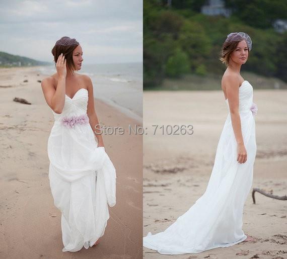 Cheap beach wedding dresses 2014 a line strapless zipper for Inexpensive beach wedding dresses