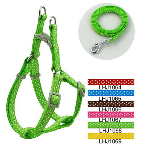 1cm Classic Dots Print Pet Dog Harness and Leash Set (6 Colors) 12pcs/lot Free shipping LHJ1064(China (Mainland))