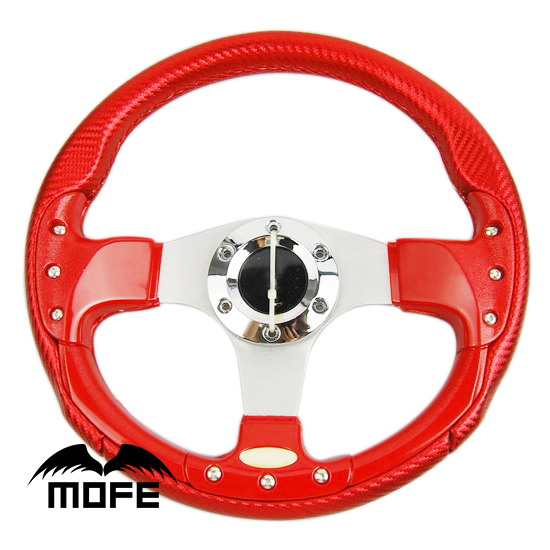 Deep Dish Stitch 3 Silver Spokes 340mm PVC Carbon Fiber Style Steering Wheel Red(China (Mainland))