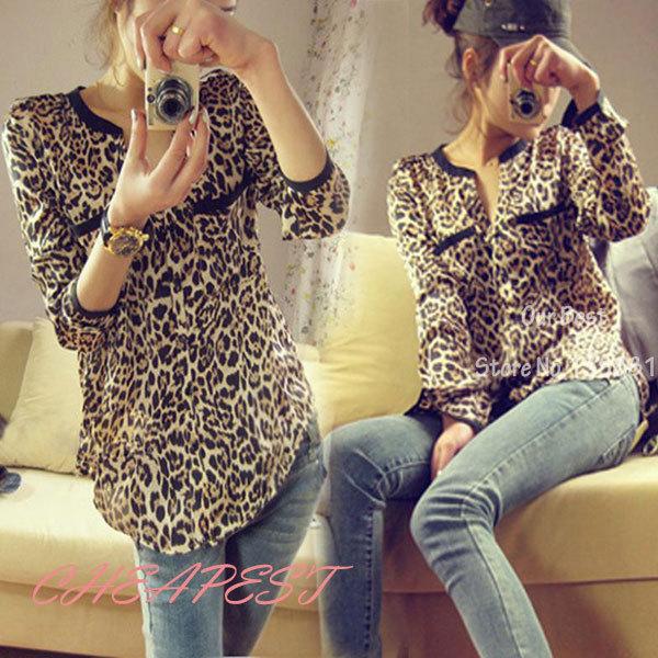 New Fashion 2014 Women Wild Leopard Print Chiffon Blouse Lady Sexy Long Sleeve Top Shirt  Loose  V neck Leopard Blouse Freeship(China (Mainland))