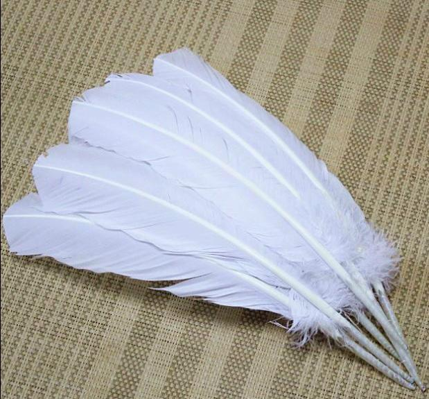 Free Shipping 50pcs 27-35cm Quill pen/fan/angel wings accessories white natural feathers goose wholesale(China (Mainland))