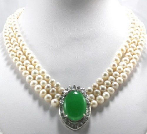 Free shipping@@@@@3Strands 7-8mm White Akoya Culutred Pearl Pearl &amp;Emerald Necklace<br><br>Aliexpress