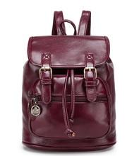 Moda mujer diseñador de moda mochilas vintage pu bolsa de hombro retro pequeña señora mochila bolsos lindos(China)