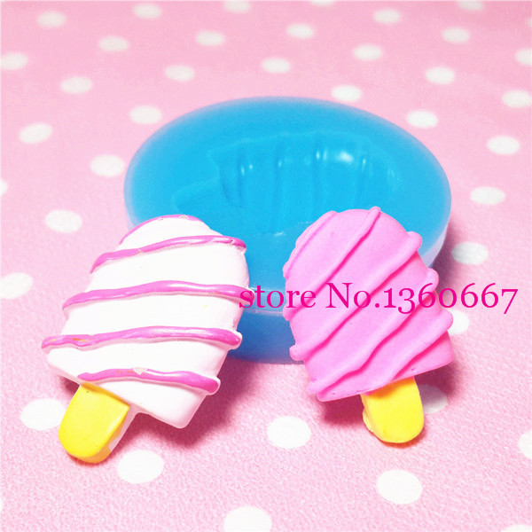 001LBX Wholesale Crunchy Ice Cream Bar / Popsicle Silicone Flexible Push Mold Jewelry Charms Resin Paper Clay Fimo Gum Paste(China (Mainland))