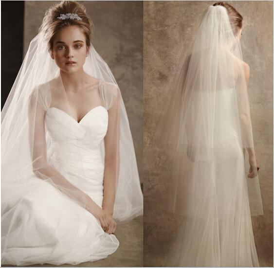 2015 New Elegant Wedding Veil with Cut Edge 2 Layers White/Ivory Wedding Accessories Wedding Dress Stock Bridal Veil With Comb(China (Mainland))