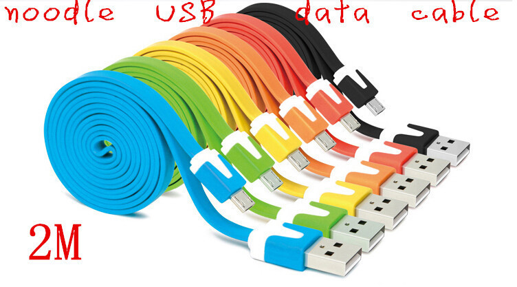 2M flat noodle USB sync data charging cable cord for huawei p6 data cable g520 u9508 c8813 b199 3c mobile phone line charger(China (Mainland))