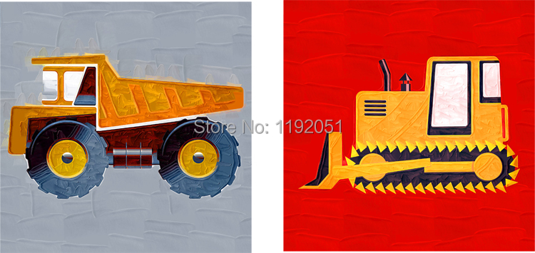 Boy room decoration canvas cartoon pictures canvas painting cars trucks oil painting canvas prints two panels free shipping(China (Mainland))