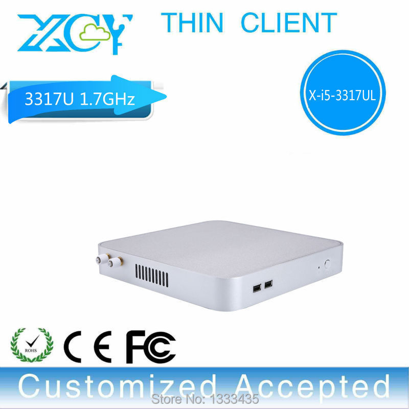 Hot mini desktop computer fanless thin client linux intel i5 3317u barebone pc support performance 3D graphics(China (Mainland))