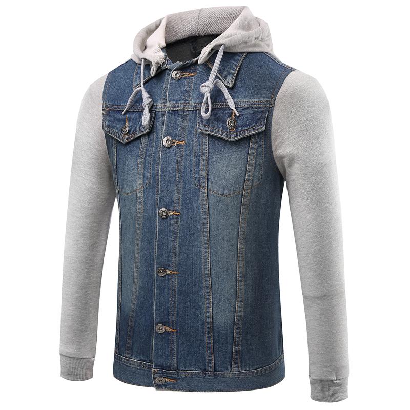 2016 New fashion Hooded Mens Jeans Jacket Cotton Mens Denim Jackets and Coats Sweatshirt Sleeve ...
