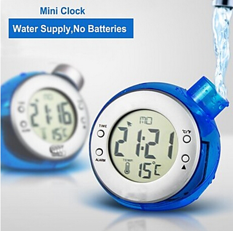 Stylish Digital LCD Display Water Powered Alarm Clock Hydro powered Clock+Temperature Display(Blue)(China (Mainland))
