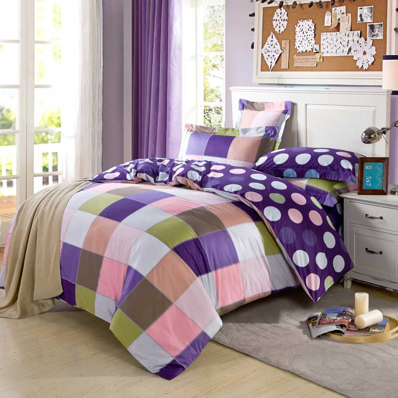 popular purple plaid comforter buy cheap purple plaid comforter lots from china purple plaid. Black Bedroom Furniture Sets. Home Design Ideas