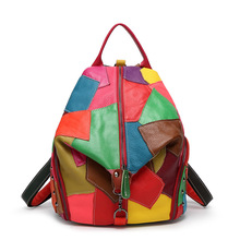 2016 New Pattern Splice Genuine Cowhide Leather Shoulder Package Backpack Jordans Women Bag Bolsa Bagpack Demix Spain Back Pack(China (Mainland))