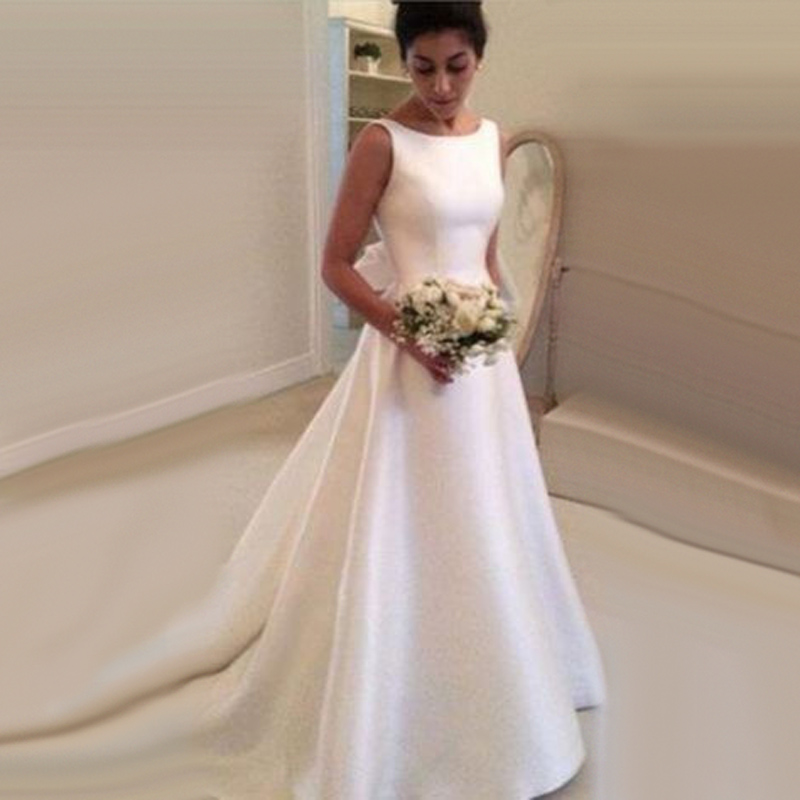 Buy elegant long low back satin wedding for Free wedding dresses low income