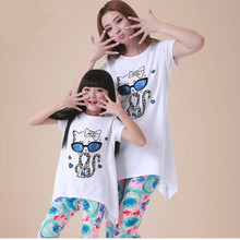 summer 2016 mother daughter matching clothes family look mommy and me cartoon cat print long t-shirt women flower panttern pants