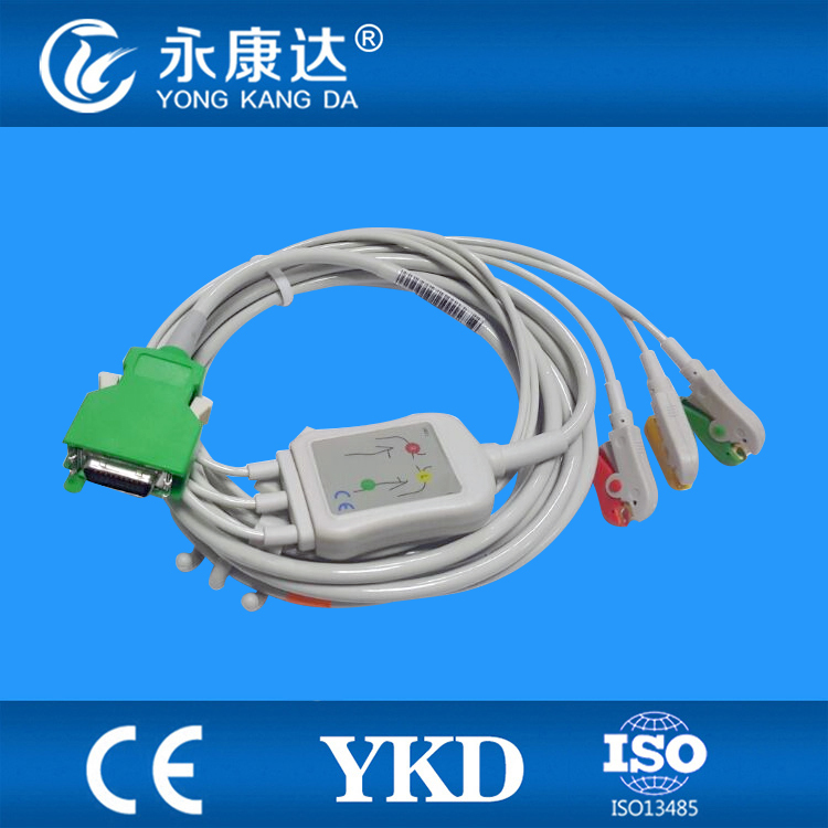 3 PCS/Lot Nihon Kohden 20 pins ECG cable with leadwires 3 leads from Chinese manufacturers(China (Mainland))