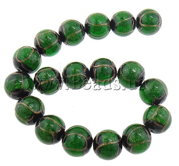 Free shipping!!!Gold Sand Lampwork Beads,Jewelry Fashion, Round, green, 16mm, Hole:Approx 2mm, Length:Approx 11 Inch