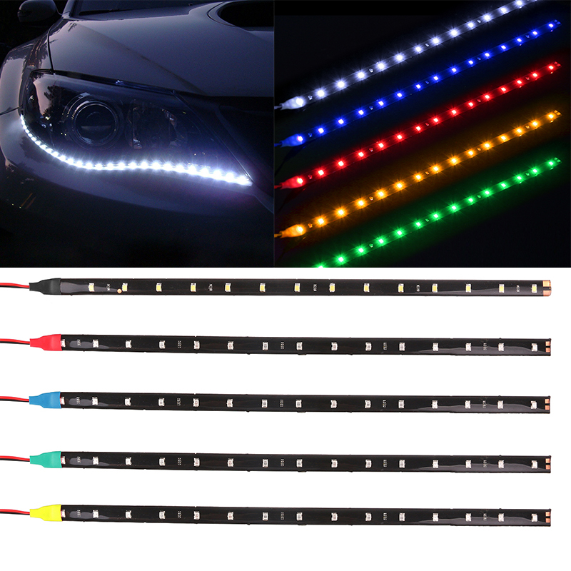 Waterproof Car Auto Decorative Flexible LED Strip HighPower 12V 30cm 15SMD Car LED Daytime Running Light Car LED Strip Light DRL(China (Mainland))