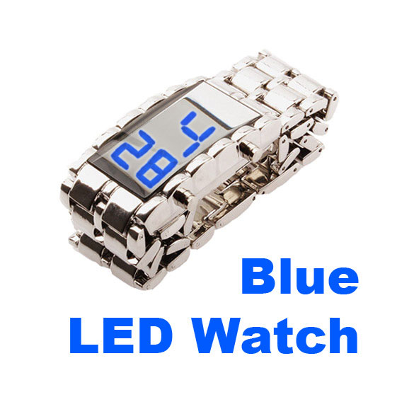 New Men Mirror Iron Samurai Lava Style Metal Wristwatch Blue LED Wrist Watch<br><br>Aliexpress