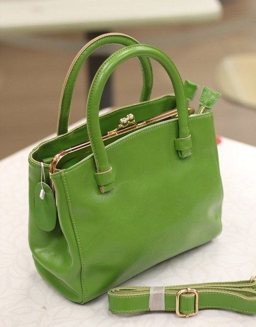 Spring and summer leather bag genuine leather bag vintage metal clip handbag messenger bag