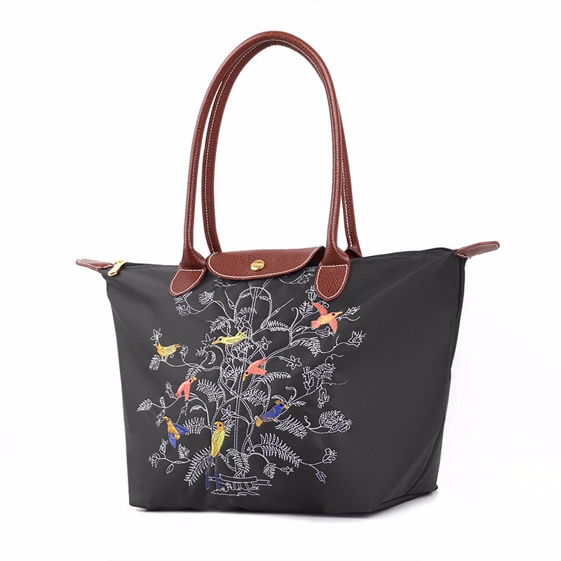 Exquisite Embroidered Tree Tote Bag Nylon PU Splicing Hand Bag For Women Durable Casual Foldable Large Printing Shoulder Bag