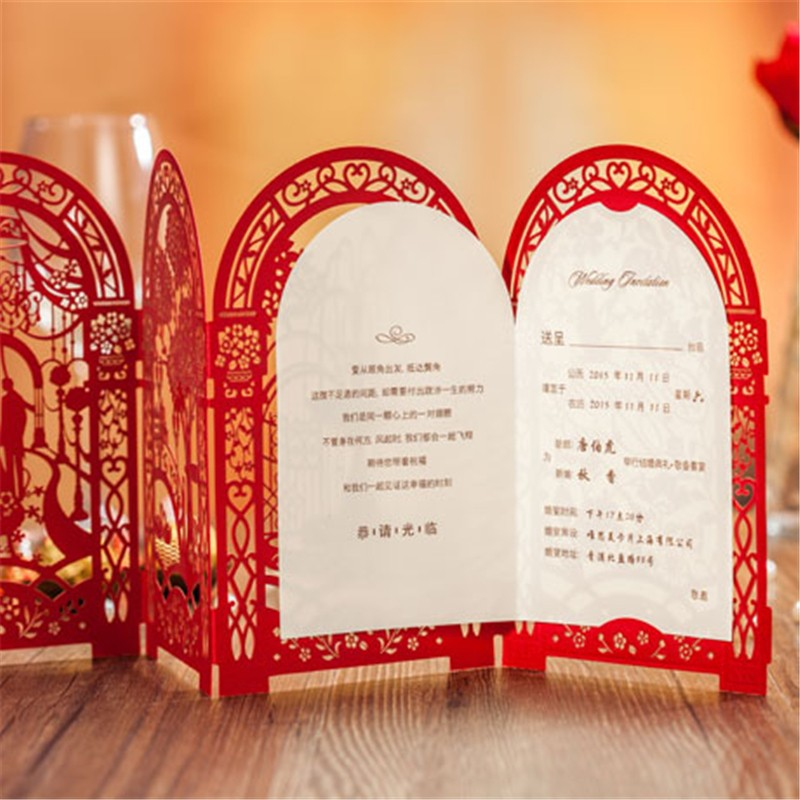 Wedding Invitation Card Romantic Party Red White Delicate Carved Pattern with Envelope Blank Sheet Wedding Decoration Supplies(China (Mainland))