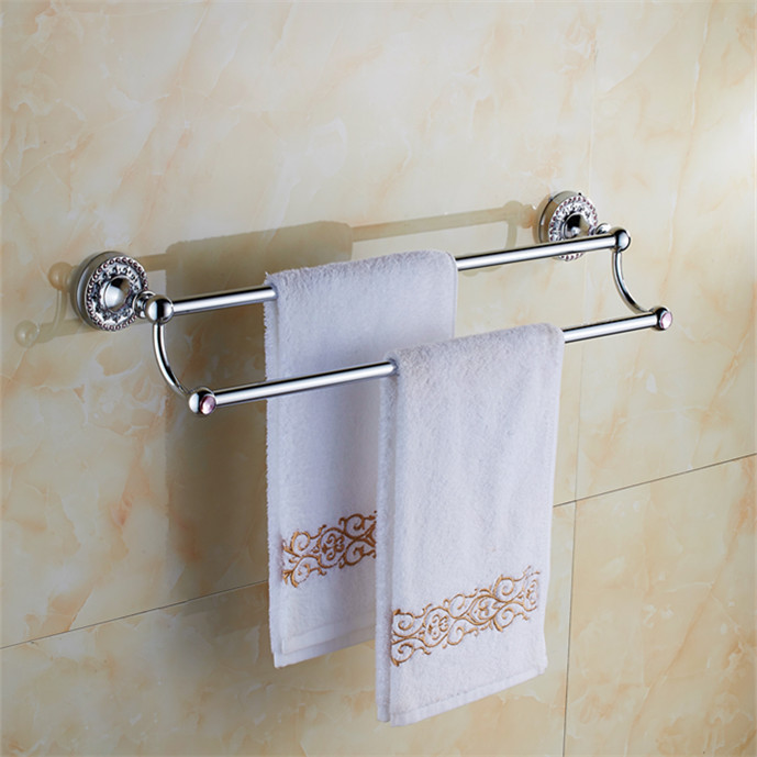 Bathroom Accessories Chrome Brass 60cm Double Towel Bars Bathroom Towel Rack Wall Mounted