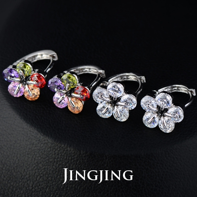 5 Pcs Small Round Swiss CZ Diamond Star Snowflake Cluster Flower Hinged Hoop Earrings(China (Mainland))