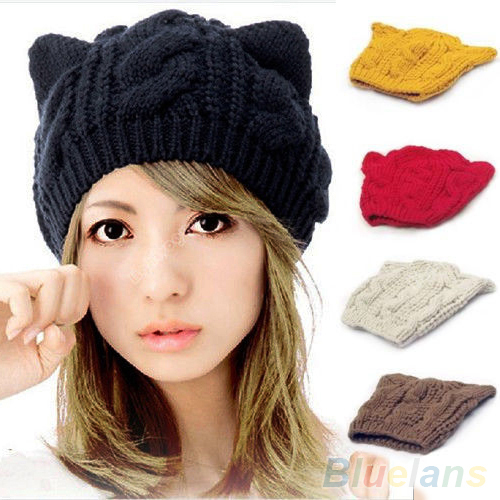 Womens Winter Knit Crochet Braided Cat Ears Beret Beanie ...