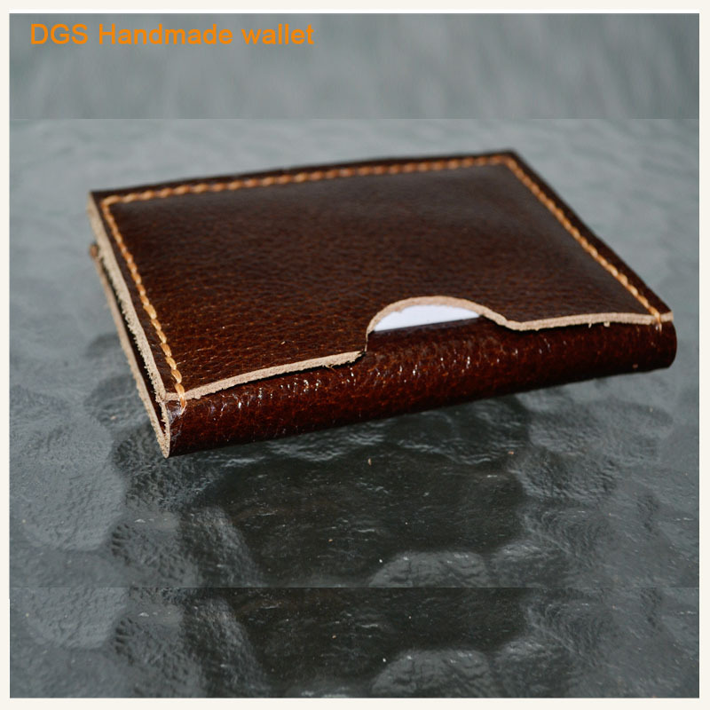 Amazing Manaul Sewing Slim Card Holder Leather Wallet Men Arc Design Purse 100% Handmade Craft Minilist 3 Credit Card Holder Bag(China (Mainland))