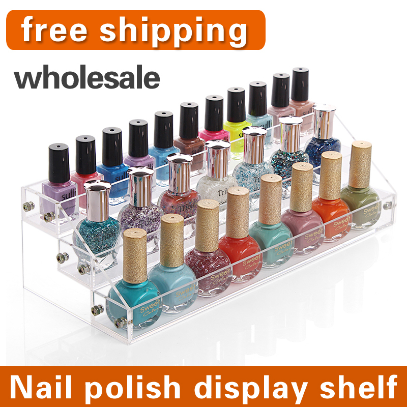 2015 NEW Fashion acrylic makeup organizer nail polish Nail polish display cosmetic rack plastic storage box free shipping(China (Mainland))