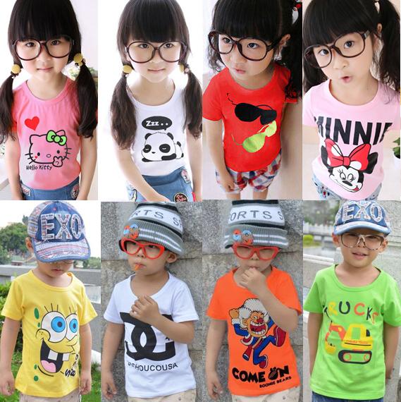 Children's Summer 2015 Kids Korean Version Of The New Girl Half Sleeve Shirt T-shirt Cotton Child T-shirt Kinder Kleidung(China (Mainland))