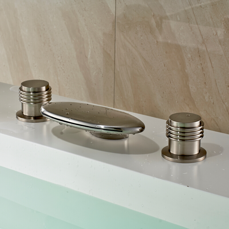 Luxury dual round handles waterfall spout basin vessel for Expensive faucets