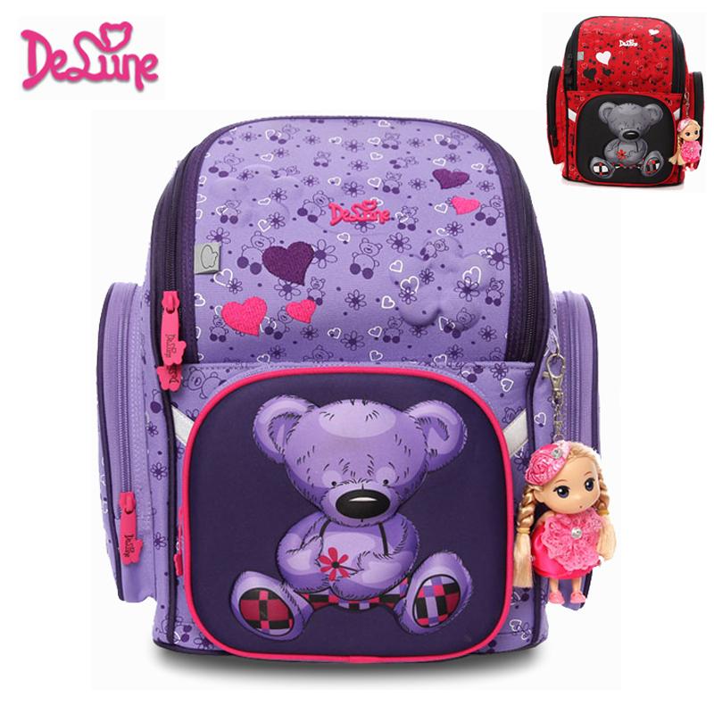 Фотография Children Orthopedic Waterproof Backpack for Girls Primary School Bags Kids Child Cute Bear  Schoolbag Mochila Infantil Grade 1-3
