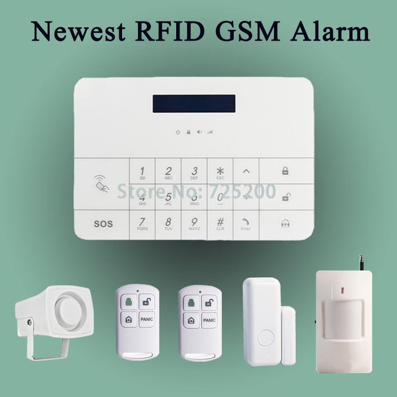 4pcs/lot DHL free shipping  IOS & android APP control wired wireless GSM SMS anti-theft alarm security system RFID tags control