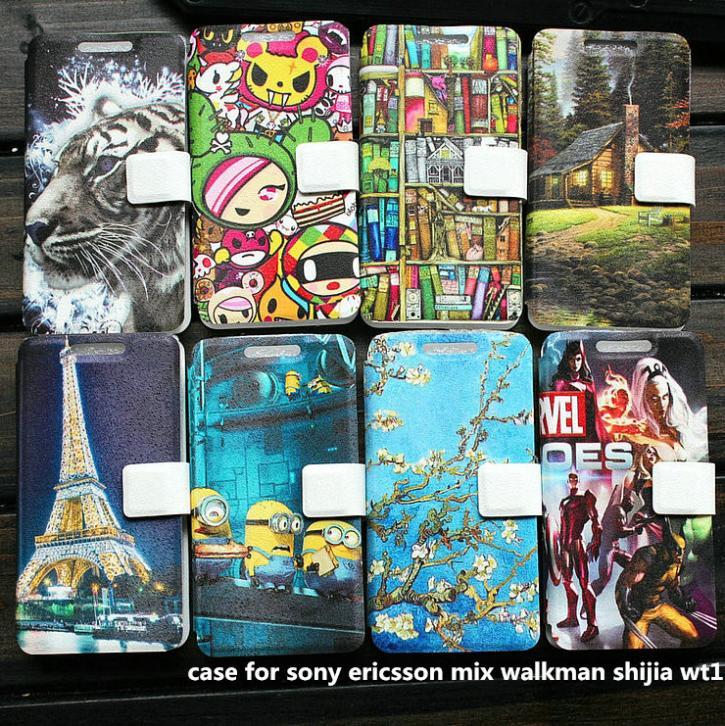 PU leather case for sony ericsson mix walkman shijia wt13i case cover(China (Mainland))